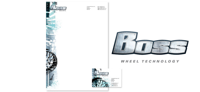 Boss Wheels logo and stationery design and print